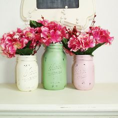 Great for Easter or just spring 3- Hand Painted Mason Jars Flower Vases-Country Decor-Cottage Chic-Shabby Chic-French Chic