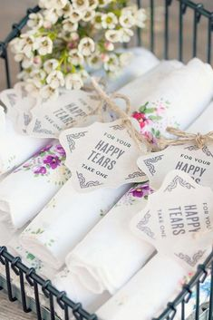 c0e3789e31c2  Happy Tears  handkerchiefs for the wedding day can also be a wedding favor  as well. Easy and cheap wedding favor ideas. SAVE to your wedding planning  ...
