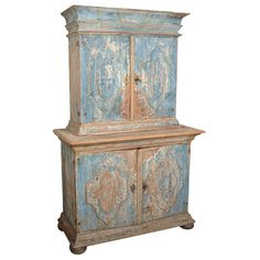 1stdibs | Swedish Baroque Cabinet     -Beautiful Swedish Baroque cabinet in original blue paint. Fabulous carving. circa 1791