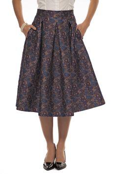Flare skirt in flower jacquard-Tristan