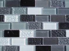 gray subway tile kitchen backsplash   Gray Subway Glass and Stone Mix Tile Kitchen Backsplash Bathroom ...
