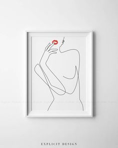 Erotic One Line Female Figure Drawing Printable, Minimalist Nude Woman Art, Naked Prints, Abstract Red Lips Illustration Print, Sexy Poster. INSTANT DOWNLOAD This listing is for a DIGITAL FILE of this artwork. No physical item will be sent. You can print the file at home, at a local