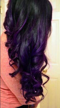 hair LOve her HAIR!O long brown hair. Dark Purple Hair, Black Hair With Highlights, Dark Hair, Purple Highlights, Purple Streaks, Peekaboo Highlights, Highlights Underneath, Caramel Highlights, Deep Purple