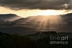 Sunset In Val D'orcia - Fantastic sunset over the hills of the Val D'Orcia with the sun's rays pass through clouds. by Luigi Morbidelli on Fine Art America ~ prints starting @ $33