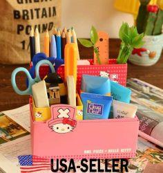 Cute HelloKitty Chopper DIY Makeup Desktop Storage Paencil Box Organizer Pink