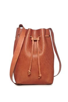 Cenice Natural Leather Bucket Bag