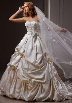 Strapless Ball Gown Floor Length Lace up Satin Sleeveless Wedding Dress