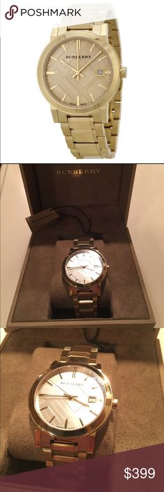 Burberry BU9033 Unisex Gold Watch Gold-tone stainless steel case. Champagne check stamped dial with gold-tone hands and index hour markers. Dial Type: Analog. Quartz movement. Scratch resistant sapphire crystal. Pull / push crown. Case diameter: 38 mm. Round case shape. Band width: 20 mm. Deployment clasp. Water resistant at 50 meters / 165 feet. Functions: date, hour, minute, second. Watch label: Swiss Made. Burberry The City Champagne Dial Gold-tone UnisexWatch BU9033. Received as gift…