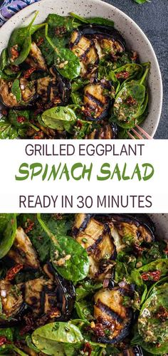 Mar 2020 - This grilled eggplant and spinach salad makes a wonderfully fresh, healthy, and filling warm weather meal. The eggplant is smoky and delicious, and the smoked paprika in the lemony dressing enhances its flavor even more. Grilling Recipes, Beef Recipes, Cooking Recipes, Healthy Recipes, Grilled Vegan Recipes, Dishes Recipes, Recipes Dinner, Potato Recipes, Delicious Recipes