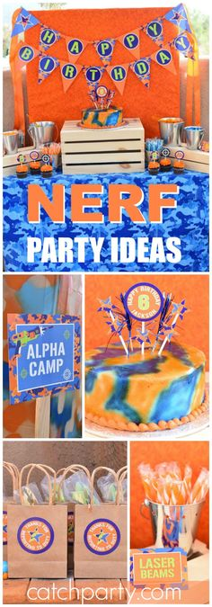 What a fun Nerf birthday party where the kids battle the adults! See more party ideas at CatchMyParty.com!