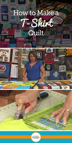 In this class you will learn how to create your own t-shirt quilt from start to finish. Kelly Hanson will show you how to interface and prepare your t-shirts, how to cut them, how to arrange them and also how to add sashing strips. T-shirt Quilts, Rag Quilt, Quilt Blocks, Denim Quilts, Flannel Quilts, Quilting Tips, Quilting Tutorials, Quilting Fabric, Patchwork Quilting