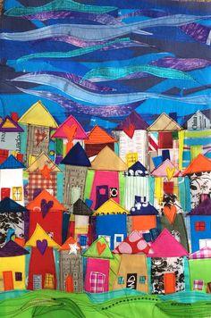 Row houses fused plastic art