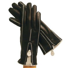 Black/White Suave 1-Zipper Italian Leather Gloves, Cashmere-lined