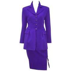 C.1990 Valentino Purple Skirt Suit With Stylized Peplum Jacket