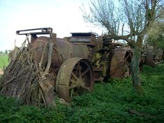 These photographs by Ian Comley were taken a couple of years ago and show the remains of Fowler ploughing engine diesel conversions lying derelict at Wixford, near Stratford-upon-Avon. Once owned. Antique Tractors, Vintage Pictures, Farming, Avon, Abandoned, Trains, Engineering, Photographs, Couple