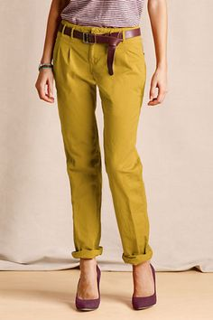 ....aaaand I will be needing these.    Women's Pleated Slim Slouch Chinos from Lands' End Canvas
