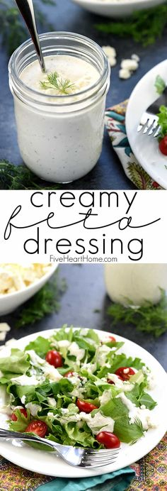 Creamy Feta Dressing with Greek yogurt crumbled feta cheese and fresh dill Creamy Feta Dressing with Greek yogurt crumbled feta cheese and fresh dill this homemade dressing is a delicious complement to salads tomatoes cucumbers and more FiveHeartHome Creamy Salad Dressing, Salad Dressing Recipes, Dill Dressing, Greek Yogurt Salad Dressing, Feta Cheese Salad Dressing Recipe, Creamy Greek Dressing Recipe, Salad With Feta Cheese, Cucumber Salad Dressing, Healthy Salads