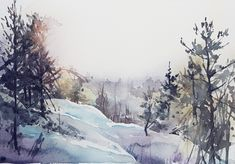 Stockholm archipelago in winter mode. Watercolor by Elisabeth Biström. Stockholm Archipelago, Snow, Watercolors, Winter, Outdoor, Instagram, Winter Time, Outdoors, Water Colors