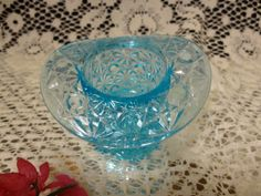GLASS BUTTON and DAISY Pattern Toothpick Holder Ice by TimeTested, $18.00