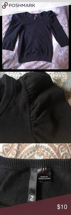 H&M Sweater Black 3/4 puffy sleeve sweater. So cute with pearls, skinnies, and sky scrapers. EUC. H&M Sweaters Crew & Scoop Necks
