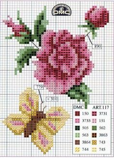 Cross stitch / Point de Croix : Grille Fleur & Papillon