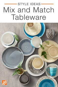 Add style to your dining space with fresh colors and bright accents. Mixing and matching tableware creates a fun and eclectic vibe, just be sure to stick to a certain color palette to create a cohesive look. Click to shop stylish tabletop and bar decor from The Home Depot.