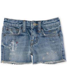 Ralph Lauren Little Girls' Denim Cutoff Shorts