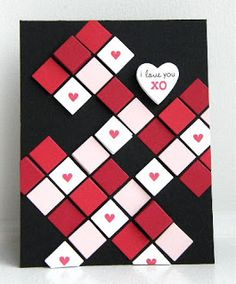 handmade Valentine ... black card with little red, pink & white squares arranged in a random geometric pattern ... fun card ...