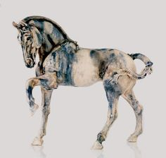 Ceramics by Elaine Peto at Studiopottery.co.uk - Blue Horse 23_longx18_ high, produced in 2007.