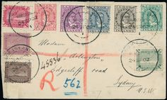Cook Islands: 1902 (Sept. 2) registered cover to Sydney bearing 1893-1900 values to 1s. tied Cook Islands, Rarotonga c.d.s's, on reverse manuscript ''Gummed/down by/A R Miller/P.M./Raro'' and N.S.W. arrival c.d.s., cover imperfections, otherwise fine.