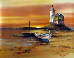 33473 non lu-Yahoo! Lighthouse Painting, Sailboat Painting, Painting Wallpaper, Painting & Drawing, Seascape Paintings, Landscape Paintings, Pictures To Paint, Art Pictures, Classic Paintings