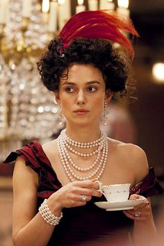 Keira Knightley - the talented actress who portrayed Anna Karenina in the 2012 movie - with her tea.