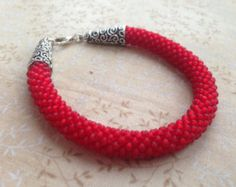 Handmade Crochet Matt Red Czech Seed Beads Bracelet
