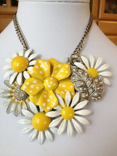Daisy Statement necklace upcycled recycled by ChicMaddiesBoutique, $70.00