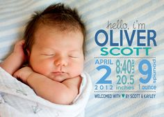 Custom Photo Birth Announcement The Oliver by ThePinkCoconut