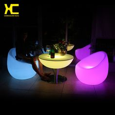 Chargeable Illuminated Table Bar Coffee Tables Remote Control Outdoor  LED Furniture