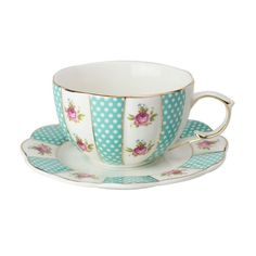 2 Pink Rose Turquoise Scalloped Porcelain Tea Cups and Saucers