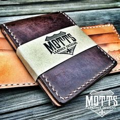 These are listed in my webstore as Handcrafted Leather Billfold Wallet (CXL/VEGTAN Combo The chromexcel exterior is a beautiful dark brown with a slight waxy feel and amazing pull up.  The interior features our deluxe 7 spot design made from the famous Hermann Oak Leather, which is in fact, ALL AMERICAN!  I'm still giving our wallets a personal touch with complete handstitched durability. Here's where to find all our great products.  mottsleatherdesigns.com…