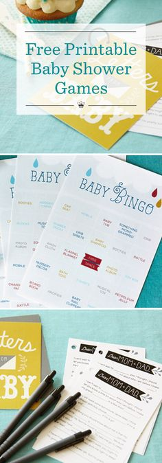 Free Printable Baby Shower Games | Download these fun baby shower games from Hallmark artist Amber Goodvin: Letters from Baby keepsake book activity and Baby Gift Bingo. Includes 6 additional baby shower game ideas.