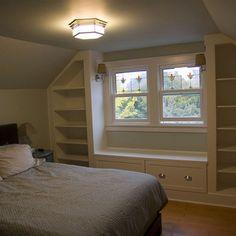 slanted ceiling bedroom storage-for upstairs bedroom if we stay? Girls Bedroom, Attic Bedrooms, Upstairs Bedroom, Attic Bathroom, Attic Master Bedroom, Bathroom Laundry, Bathroom Layout, Master Closet, Bedroom Bed