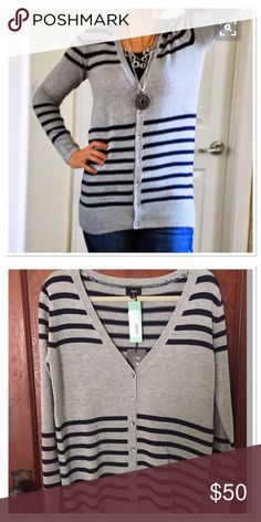 NWT Fate Cardigan Sweater Beautiful soft grey & navy blue cardigan.  NWT, from StitchFix. Smoke free home. Fate Sweaters Cardigans