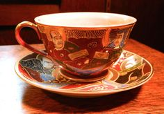 Occupied Japan Satsuma Moriage Tea Cup - Adorned with Kannon (Goddess of Mercy), Rakans and Shimazu Family Crest - Marked Normally China. China Painting, Christmas In July, Light Orange, Tea Cup Saucer, Teacups, Afternoon Tea, Bone China, Tea Party, 3 D