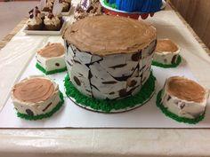 Birch log cake for lumberjack themed birthday party