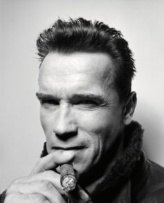 ON Rankin Portraits Book Arnold Schwarzenegger Portrait Famous Portraits, Celebrity Portraits, Arnold Schwarzenegger, Last Action Hero, John Rankin, Cigar Men, Actrices Hollywood, Black And White Portraits, Famous Faces