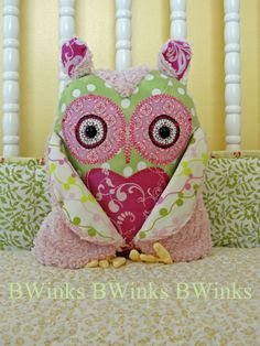 Owl Pillow  Pink Lily Pad Owl Pillow by BWinks on Etsy, $38.00