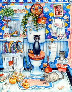 """Something is wrong here, though, no one is shredding the toilet paper.   Bill Bell  """"Bathroom Cats""""   8x10"""" Print,  Matted to 11x14"""""""
