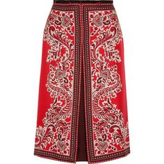 Alexander McQueen Paisley-print silk-twill skirt (9.942.430 IDR) ❤ liked on Polyvore featuring skirts, red, red paisley skirt, multi color skirt, multicolor skirt, red knee length skirt and alexander mcqueen