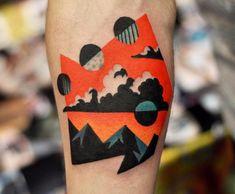 surreal landscape, orange and black