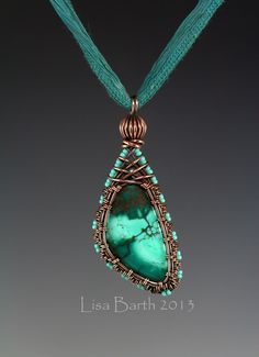 Here is a woven bezel I made for fun.  Wire weaving is therapeutic for me so I just love to sit and weave.  This stone is Chinese Turquoise.