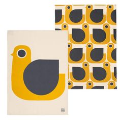 Orla Kiely | USA | House | Kitchen | Hen Tea Towel set/2 (0KTTHEN455) | Mustard